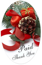 """1.25"""" x 2"""" Paid Thank You w/ pine & ribbon Labels 500 Per Roll Great Stickers"""