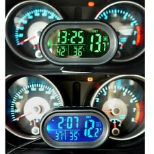 Car Thermometer Digital LCD 12-24V Clock Temperature Voltage Meter Accessories