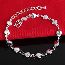 Women 925 Sterling Silver Heart Crystal Rhinestone Chain Bangle Charm Bracelet