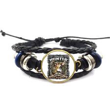Hunter Glass Cabochon Bracelet Braided Leather Strap Bracelet