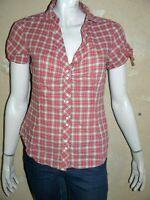 ESPRIT Taille 38 Superbe chemise manches courtes femme carreaux rose blouse