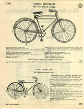 1929 PAPER AD 5 PG Crown Bicycle Motorbike Sport Model Deluxe Tank Light Horn