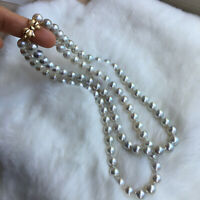 8.5-9mm Nice Japanese Seawater Akoya Fairy grey Pearl double strands Necklace