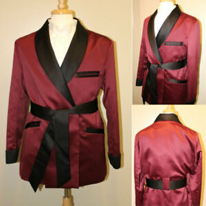 Mens  Black Satin Smoking Jacket- Burgundy / Fully Lined With Belt Prom Suits