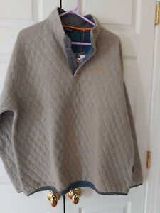 New Men Orvis Outdoor Quilted Snap Sweatshirt Trout Bum Tan Size XL 2EG2
