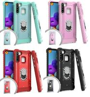 For Samsung Galaxy A21 S215DL A215W A215U1 Metal Jacket Stand Case Cover