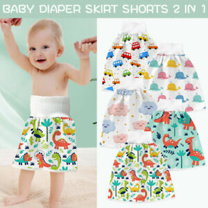 2 in 1 Comfy Children's Diaper Skirt Shorts Waterproof Absorbent Shorts for Baby
