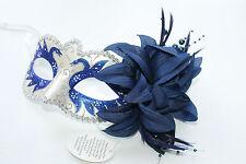 DARK Blu Bianco Perla estremamente Argento & Fiore Masquerade Maschera Veneziana Carnevale