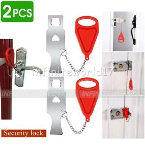 2X Portable Door Lock Hardware Tool Home Bedroom Privacy Hotel Room Addalock UK