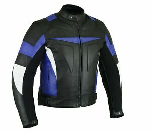 Motorradjacke Herren Lederjacke Schwarz / Weiß / Blau Größe M