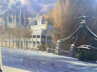 Al Rounds Signed & Numbered Print Mormon Temple Street Car Snow