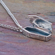 925 sterling silver 3D VAMPIRE DRACULA COFFIN Goth Charm Pendant Opens Necklace