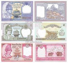 Nepal 1 + 2 + 5 Rupees Set of 3 Banknotes 3 PCS UNC