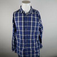 VTG Wrangler Blue White Long Sleeve Button Up Cotton Plaid Casual Shirt Mens XL