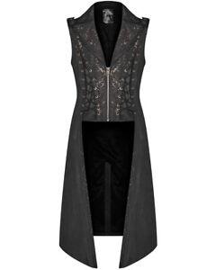 Punk Rave Mens Steampunk Long Waistcoat Vest Jacket Black Brown Gothic Victorian