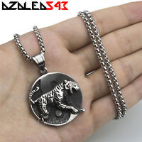 Men's Large Silver Tiger Yin Yang Solid Stainless Steel Pendant Necklace Set