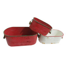 Set of 3 Large Metal Plant Pots with 'Merry Christmas' Message & Sturdy Handles