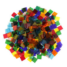 160g Colorful Clear Glass Mosaic Tiles DIY for Handcraft Make -Square