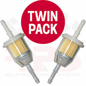 TWIN PACK Universal In Line Petrol Fuel Filter SMALL Fits 6-8mm Race Rally Road