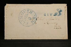 New Hampshire: Plymouth 1850s Stampless Ladies Cover, Blue CDS & PAID 3