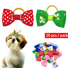 20pcs/pack Pet Dog Hair Bows with Rubber Bands Small Dog Cat Grooming Bowknots
