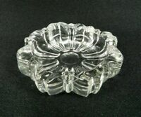 Vintage Small Clear Glass Ashtray Pressed Glass Starburst Pattern 3-1/4""