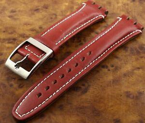 Bracelet montre SWATCH Cuir rouge - Large - B7B-40