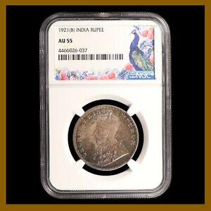 British India 1 Rupee, 1921 (B) Bombay NGC AU 55 King George V 4466026-037