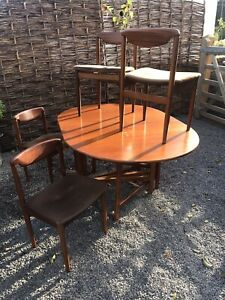 Vintage mid century wooden drop leaf dining table & chairs, GPlan Style