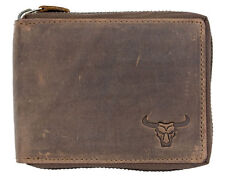 Natural genuine leather wallet with bull's skull with metal zipper around