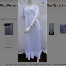 New listing Vintage Virgin White Peasant Embroidered Miss Dira Nylon Lingerie Nightgown 40