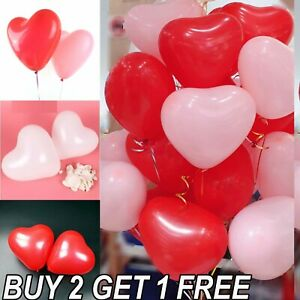 100 LOVE HEART SHAPE BALLOONS Wedding Party Romantic baloons Birthday decoration
