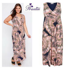 PRASLIN CORAL PINK NAVY TIE DYE MAXI DRESS PARTY EVENING SIZE 16 SALE !
