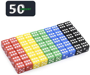 50 Pack Translucent & Solid 6-Sided Game Dice 5 Sets of Vintage Colors 16Mm Dice