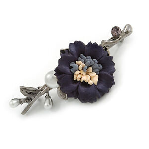 Vintage Inspired Blue Fabric Flower with White Faux Pearl Barrette Hair Clip Gri
