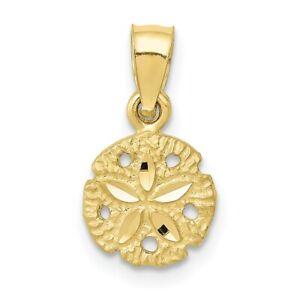 Real 10kt Yellow Gold Sand Dollar Pendant