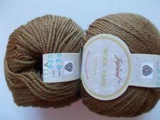 Jojoland 100% wool yarn, medium weight, brown, lot of 2 (110 yds each)