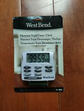 West Band Easy Read Magnetic Electronic Triple Kitchen Timer, White