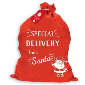 Christmas Large Felt Santa Sack Present Stocking Bag Filler SPECIAL DELIVERY RED