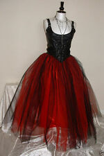 tutu skirt black red long tulle gothic hippy boho prom gypsy evening wedding