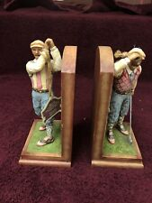 Jim Shore Heartwood Creek Golfer Bookends Statues 2005 Collectible With Tags