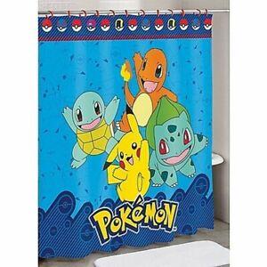 "Nintendo Pokemon Fabric Shower Curtain 72"" X 72"" Pokemon and Friends NEW"