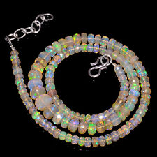 "64RTS 4to8MM 18"" ETHIOPIAN OPAL FACETED RONDELLE BEADS NECKLACE OBI3221"