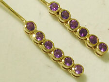 E048- Lovely Genuine 9K SOLID Yellow Gold NATURAL Amethyst Drop Earrings Journey