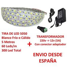 Kit Tira de Led 5050 IMPERMEABLE Blanco Frio o Cálido + Transformador 5A 5m IP65
