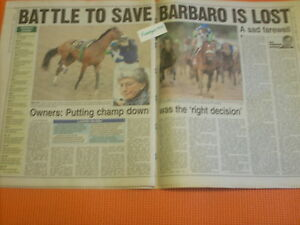 Rare DEATH OF BARBARO NY POST COMPLETE UNREAD NEWSPAPER PHOTOS & STORIES