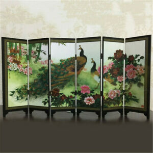 6 Panel Peacock Screen Room Divider Privacy Foldable Wood Folding Partition Gift