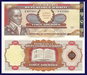 Haiti P271A, 20 Gourde, General Louverture / constitution, see UV, W/M, 2001 UNC