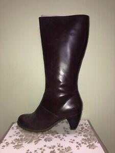 "HOT! Dr. ""Doc"" Martens tall zip boots 2"" heel reddish chestnut brown"