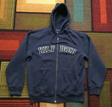 Tommy Hilfiger Full ZIP Sweatshirt Hoodie Jacket sz S Blue Spellout Embroidered